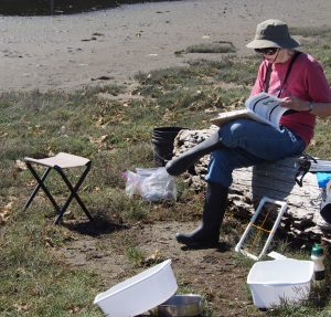 Kamp Kala. Eileen sets up base to prepare for sampling.