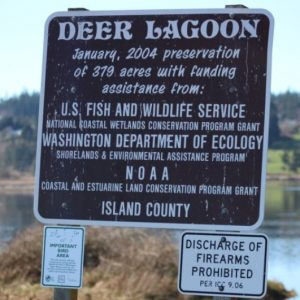 Deer Lagoon is a great site for birding as well as Crab Team sampling. If you don't believe the words on the sign, the coating of bird droppings should convince you! (Photo: Jeff Adams)