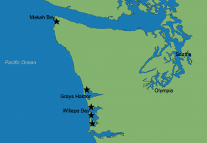 Map showing spread of sentinel site locations along Washington coast