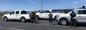 Picture showing three WDFW trucks and three technicians ready to go into the field for the first time.