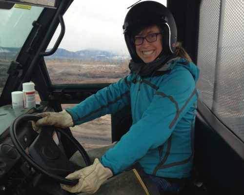Program Coordinator Emily Grason got to ride in style with USFWS staff scouting Dungeness Spit. Note: Emily did not actually drive the UTV because she has not had official USFWS training. She merely demonstrates proper PPE here. (Photo: Lorenz Sollmann).