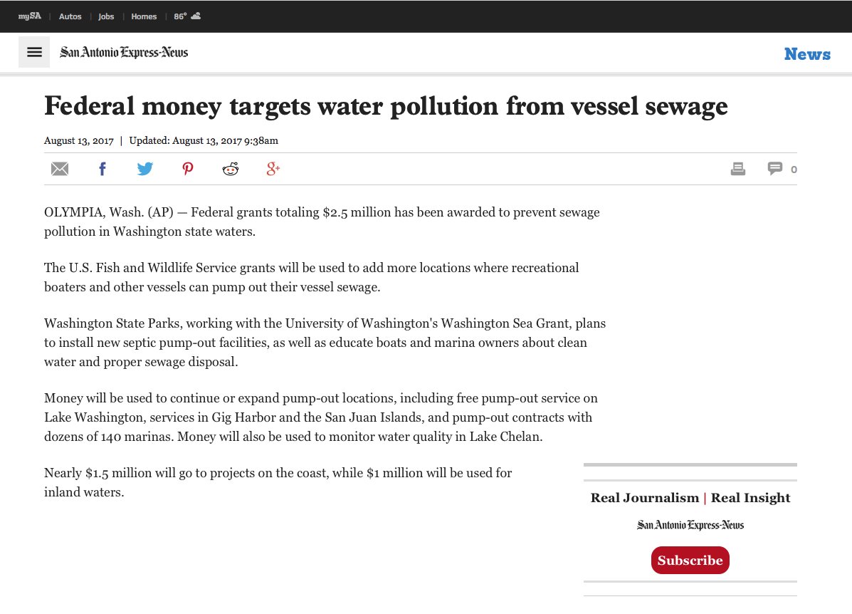 Washington sea grant in the news washington sea grant san antonio express news august 13 geenschuldenfo Image collections