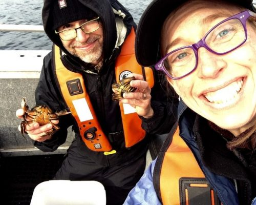 Look what we found! Sean and Emily headed to Sooke, BC in November to collect samples of European green crab for genetic analysis. Photo: Emily Grason