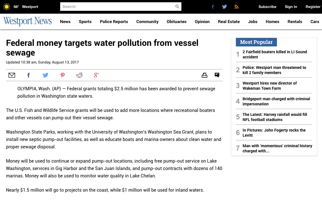 Washington sea grant in the news washington sea grant westport news august 13 nvjuhfo Choice Image